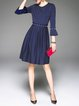 Royal Blue Frill Sleeve Beaded Crew Neck A-line Midi Dress