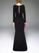 Black Elegant A-line Slash Neck Evening Dress With Belt