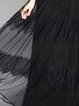 Black Swing  Silk-blend Long Sleeve Lace Evening Dress
