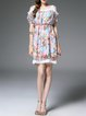 Multicolor Floral-print A-line Short Sleeve Mini Dress