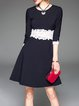 Half Sleeve Casual Stripes Paneled Mini Dress