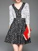 V Neck Pierced A-line 3/4 Sleeve Elegant Mini Dress