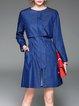 Blue A-line Paneled Elegant Mini Dress