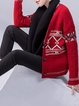 Red Long Sleeve Buttoned Geometric V Neck Knitted Coat