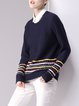 Navy Blue Peter Pan Collar Long Sleeve Knitted Sweater