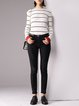 Long Sleeve Casual Crew Neck Sheath Stripes Sweater