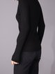 Black  V Neck Plain Long Sleeve Sweater