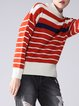 Acrylic Long Sleeve Casual Stripes Color-block Sweater