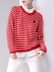 Long Sleeve Casual Color-block Stripes Sweater