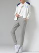 Light Gray Appliqued Casual Cotton Plain Track Pants