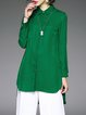 Green Casual Asymmetric Plain Tunic