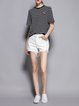 Solid Ripped Cotton Casual Short