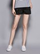 Black Casual Solid Cotton Ripped Shorts