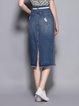 Dark Blue H-line Casual Slit Midi Skirt