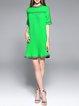 Stand Collar Casual Paneled Flounce Mini Dress