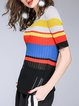 Multicolor Color-block H-line Shorts Sleeve Sweater