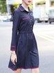 Dark Blue Shirt Collar Long Sleeve  Midi Dress