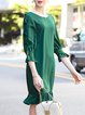 Green 3/4 Sleeve Crew Neck Solid Midi Dress