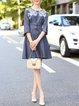Dark Blue Stripes Tencel Elegant Midi Dress