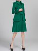 Buttoned  Long Sleeve Plain Shirt Collar Two Piece Elegant Midi Dress