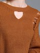 Khaki Ripped Long Sleeve H-line Knitted Sweater