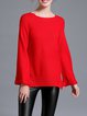 Red Knitted Long Sleeve Ribbed Sweater