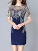 Navy Blue Polyester Appliqued Vintage Mini Dress
