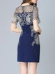 Navy Blue Polyester Appliqued Vintage Mini Dress