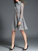 Deep Gray Polyester Long Sleeve Shirt Dress