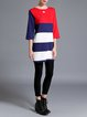 Red H-line Stripes Knitted Casual Sweater Dress