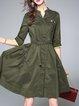 Casual Cotton-blend A-line 3/4 Sleeve Paneled Midi Dress