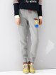 Light Gray Casual Pockets Cotton Track Pants