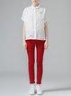 Short Sleeve Simple Shirt Collar Ramie H-line Blouse