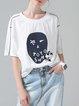 White Crew Neck Simple Cotton H-line T-Shirt