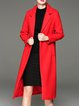Red Lapel Solid Cotton-blend Long Sleeve Coat