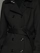 Black Cotton-blend Lapel Casual Solid Coat with Belt