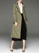 Olive Green Lapel Shift Paneled Casual Trench Coat