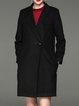 Black Simple Solid Lapel Cotton-blend Coat