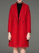 Red Lapel Cotton-blend H-line Simple Coat