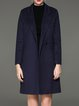 Dark Blue Symmetric Cotton-blend Simple Solid Coat
