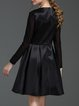 Black Folds Crew Neck Solid Long Sleeve A-line Midi Dress