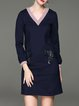 Dark Blue Cotton-blend V Neck Casual Symmetric Mini Dress