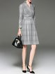 Gray Printed Stand Collar Ramie Long Sleeve Midi Dress