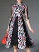Vintage Shirt Collar Floral-print 3/4 Sleeve Midi Dress