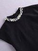 A-line Cotton-blend Elegant Beaded Mini Dress