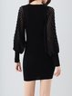 Black Beaded Sheath Casual Knitted Sweater Dress
