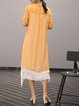Orange Crew Neck Elegant Linen Floral Midi Dress