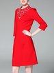 Elegant Beaded Stand Collar 3/4 Sleeve Midi Dress
