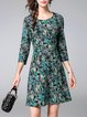 Blue Casual Printed A-line Midi Dress