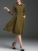 Olive Green Long Sleeve Paneled Shirt Collar A-line Midi Dress